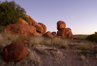 Crimson Light on the Devils Marbles