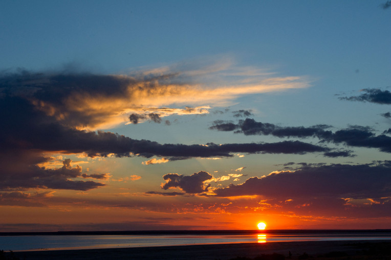 Sunset at Lake Eyre, South Australia.