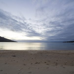 Sunset on the beach at Coles Bay Tasmania