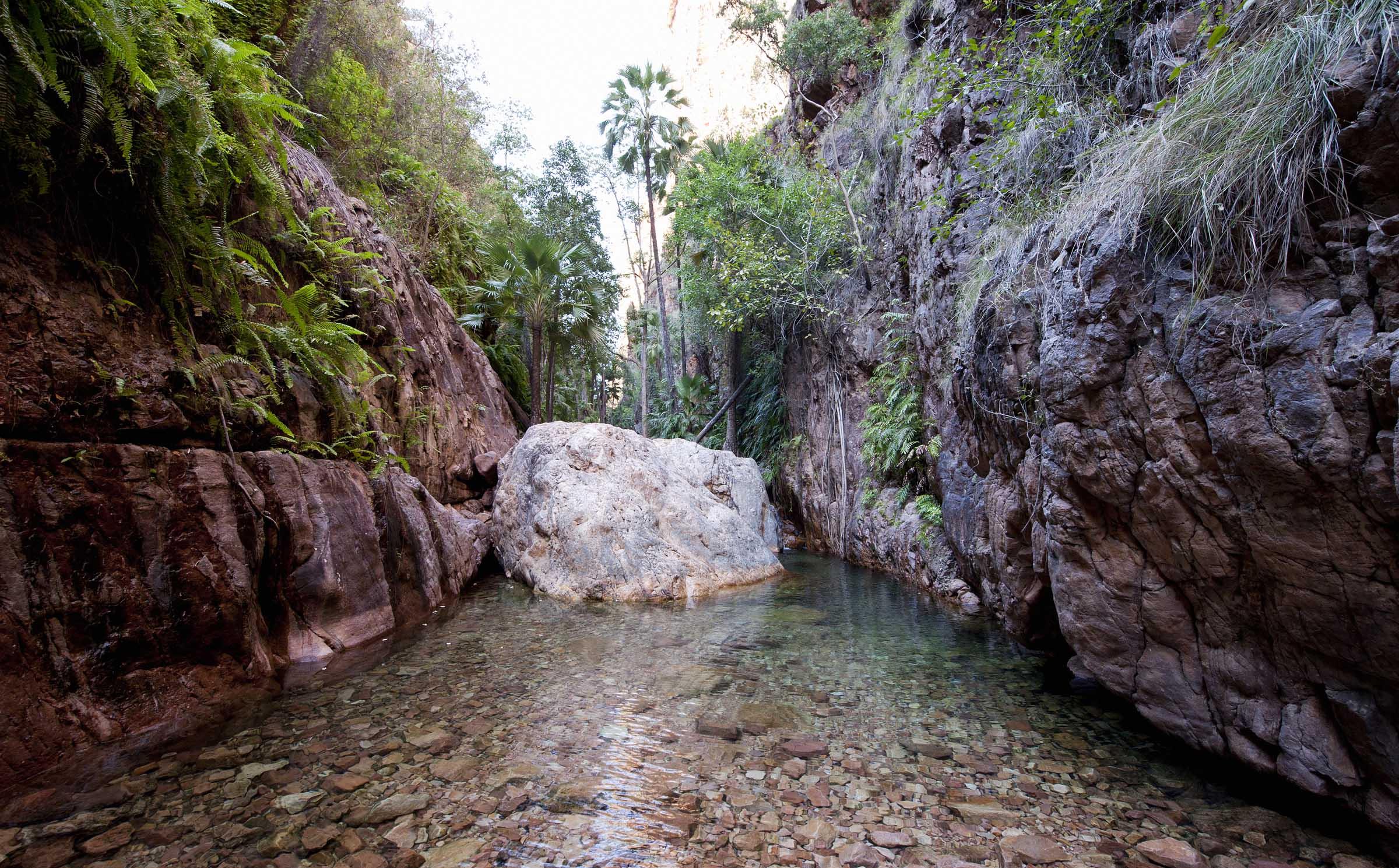 Warm water flowing at El Questro Gorge.