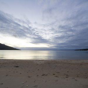 Sunset on the beach at Coles Bay Tasmania